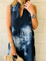 Grey Denim Tie Dye Tiered Maxi Dress