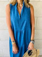 Denim Tiered Maxi Dress