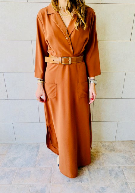 Copper Blazer Maxi Dress