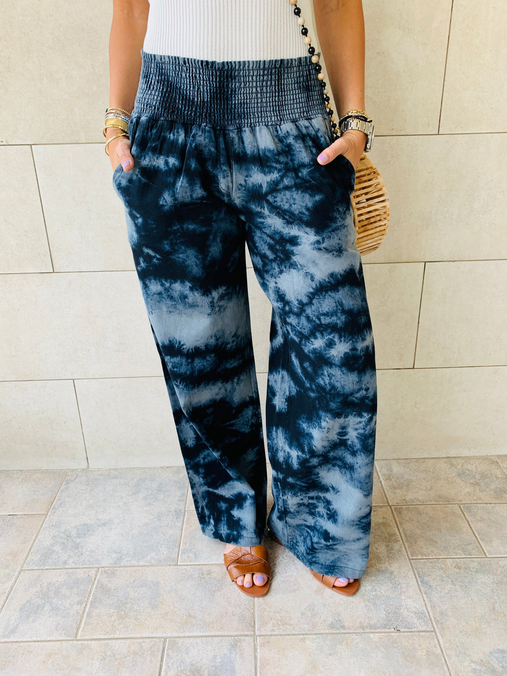 Grey Tie Dye Denim Flare Pants