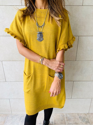 Mustard Fiesta Knit Dress