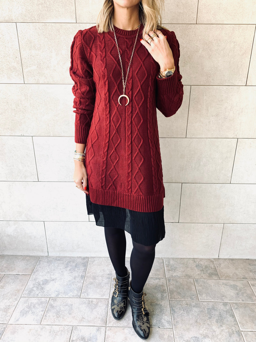 Burgundy Cable Plisse Hem Dress