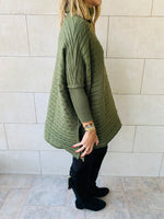 Olive Cable Knit High Neck Poncho