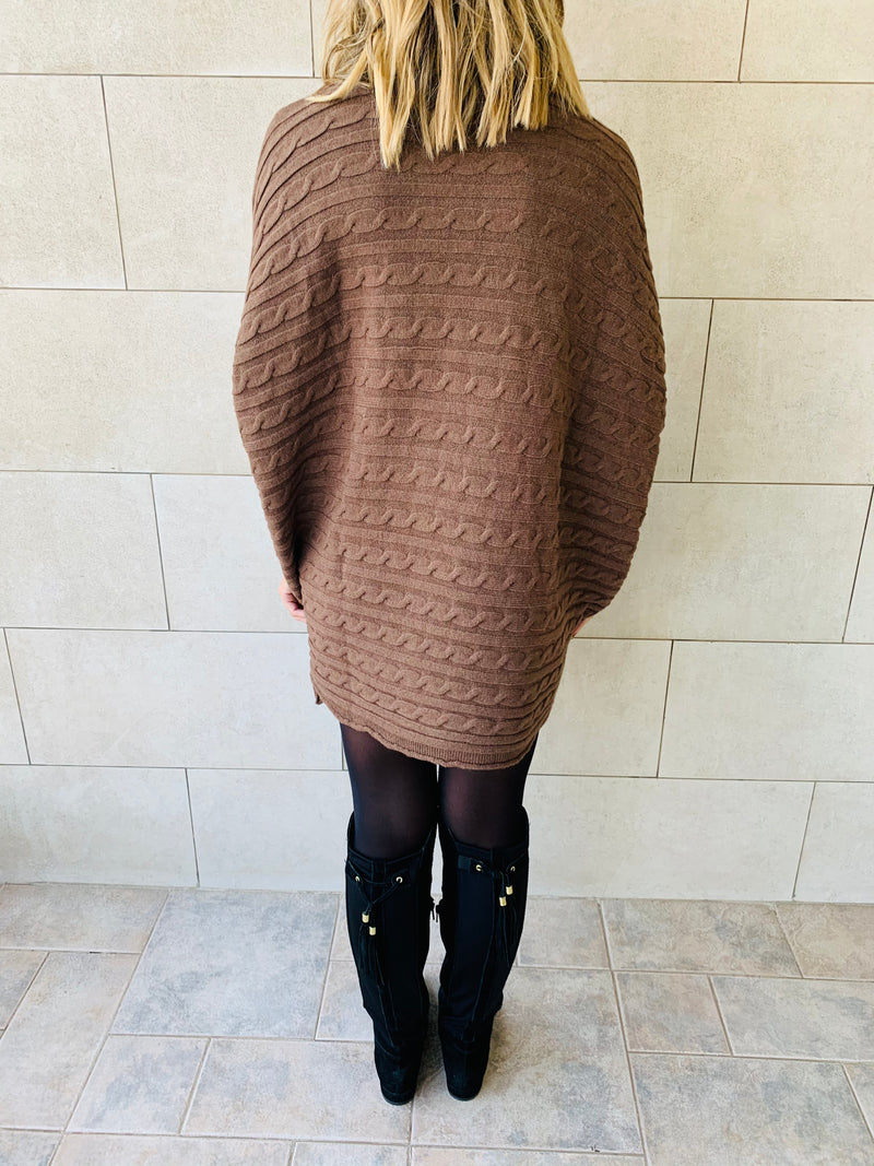 Brown Cable Knit High Neck Poncho