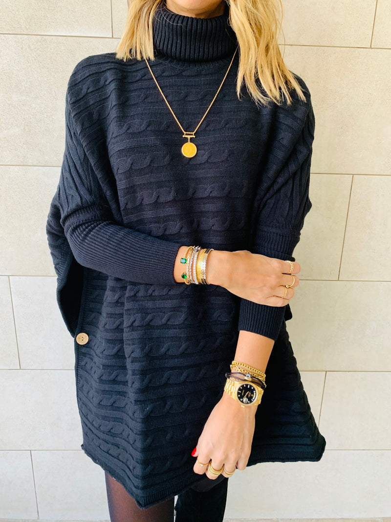Black Cable Knit High Neck Poncho