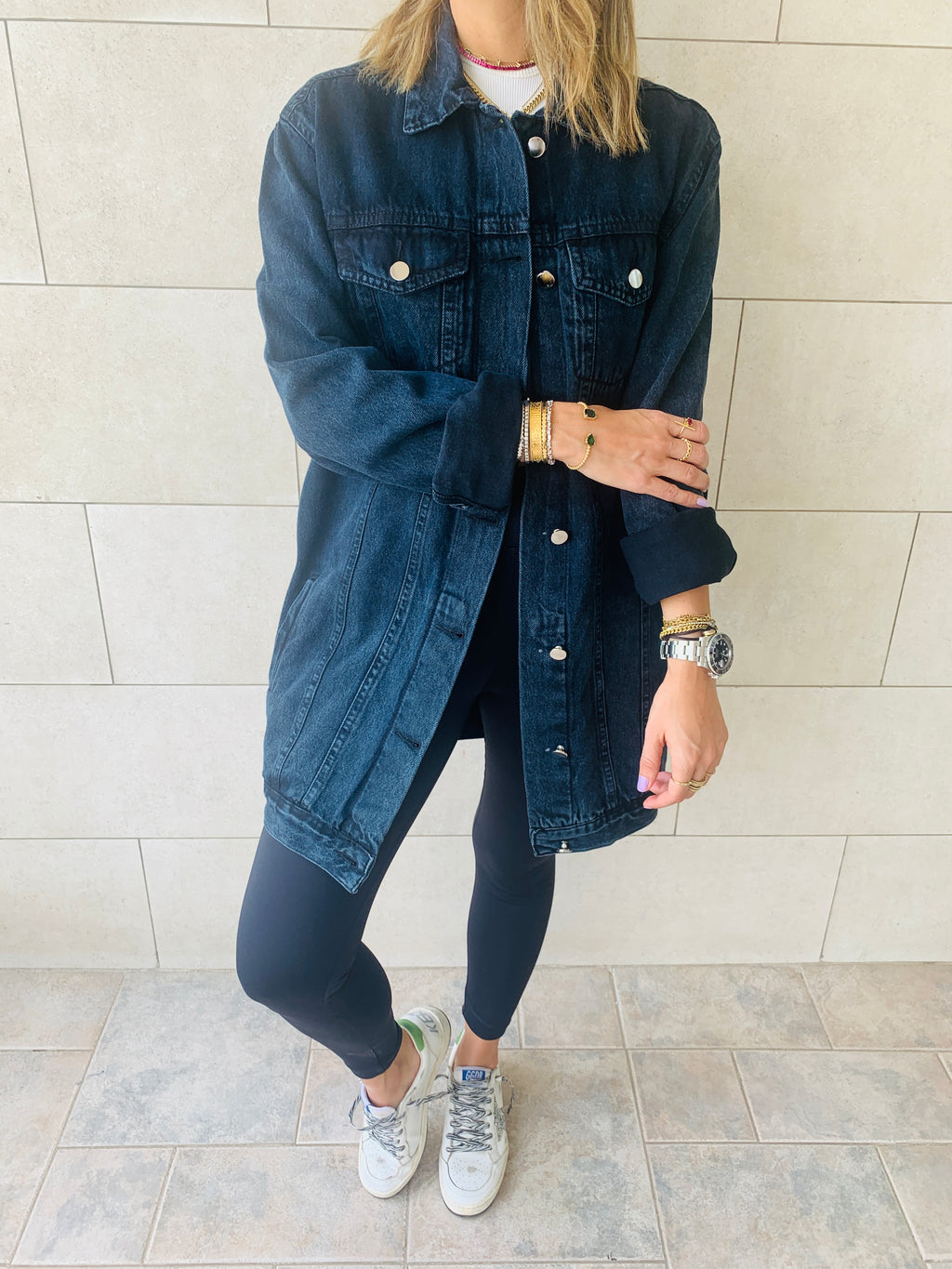 Black Longline Denim Jacket