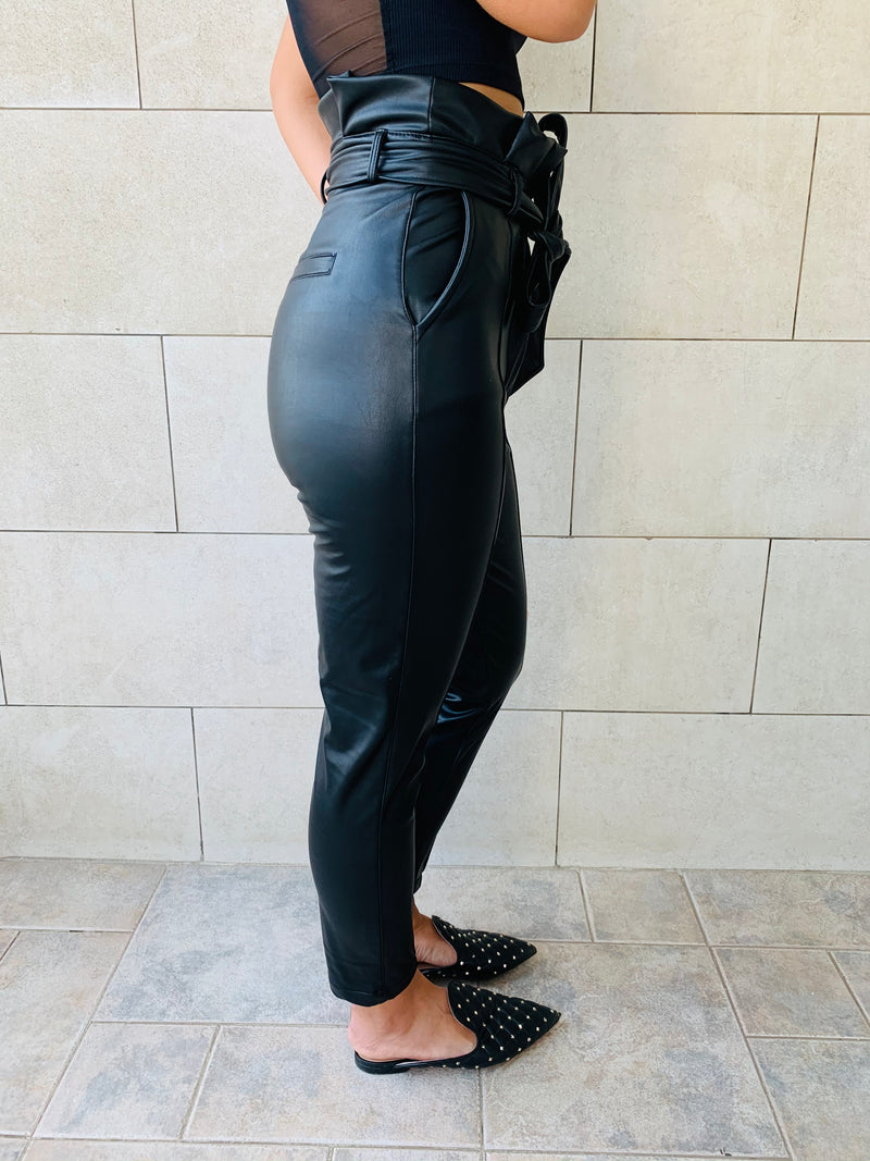 Black Leather Cig Pants