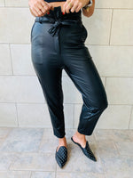 Black Leather Tie Waist Pants