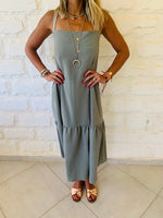 Olive Back Tie Tiered Dress