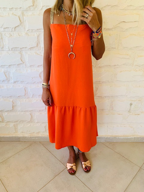 Orange Back Tie Tiered Dress