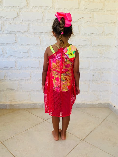 MINI FRILLU Fuchsia Coverup