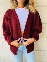 Burgundy Button Cardi