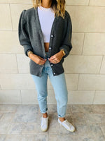 Charcoal Button Cardi