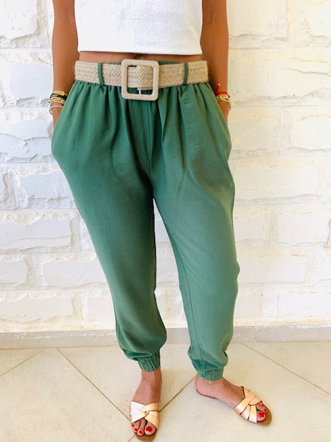 Olive Belted City Pants