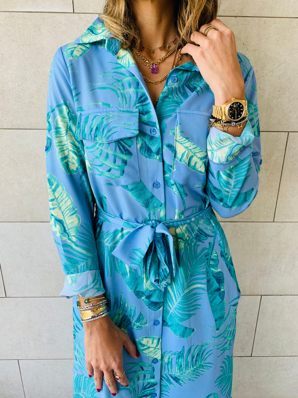 Aqua Lila Shirt Dress