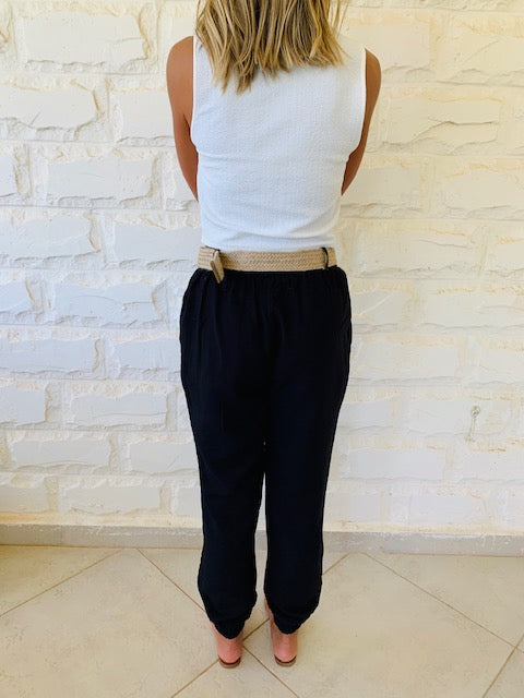 Black Belted City Pants