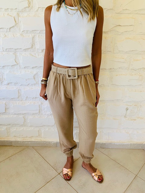 Beige Belted City Pants