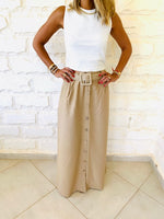 Beige Belted City Skirt