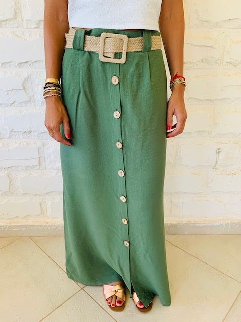 Olive Belted City Skirt