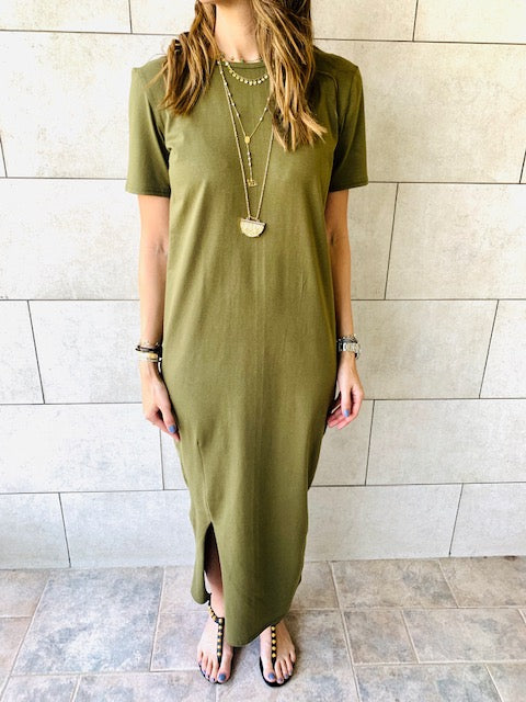 The Basic Olive Tshirt Dress
