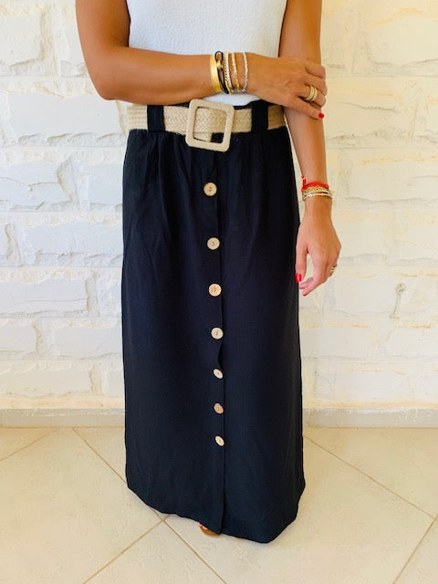 Black Belted City Skirt
