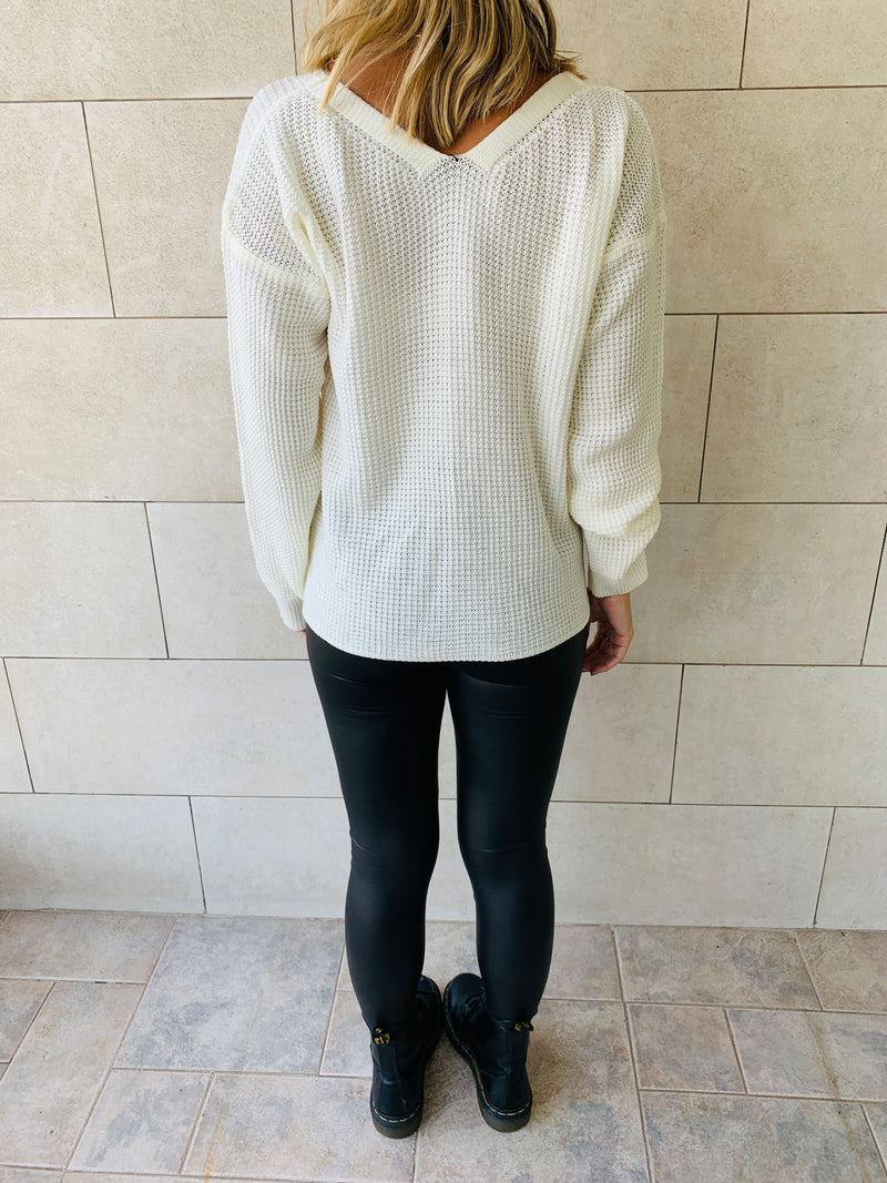White Front Pull Pullover