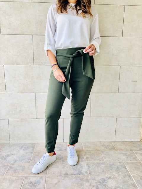 Olive Summer Cigarette Pants