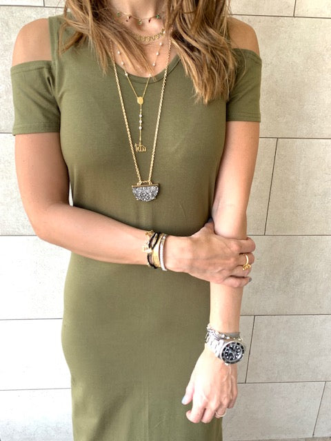 Olive Cold Shoulder Maxi Dress