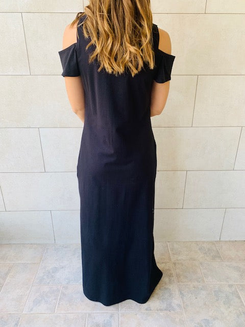 Black Cold Shoulder Maxi Dress