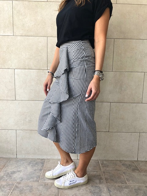 Gingham Midi Ruffle Skirt