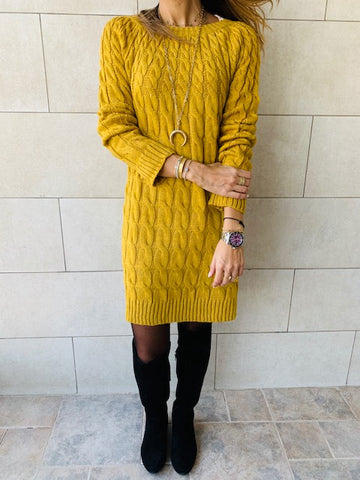 Mustard Braid Knit Dress