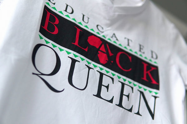 EDUCATED BLACK QUEEN® Women's White V-Neck Shirt