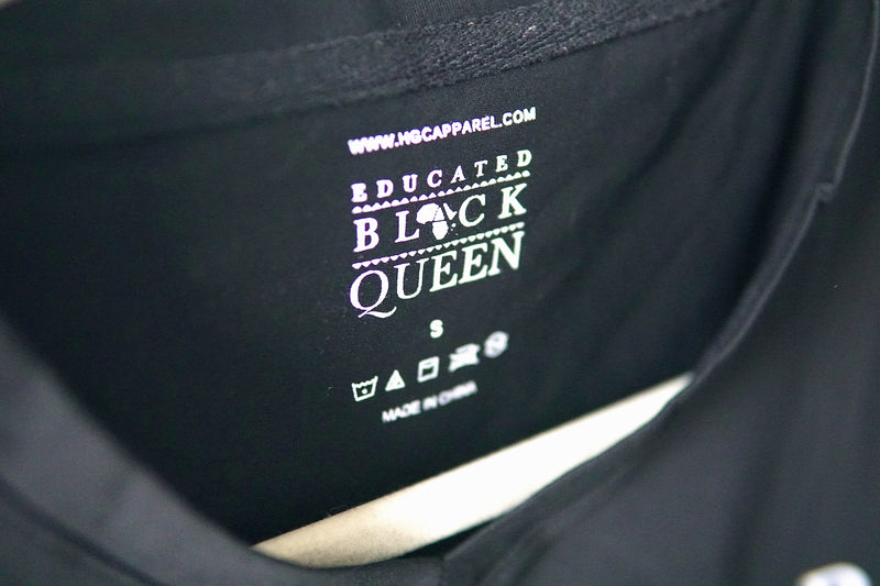 EDUCATED BLACK QUEEN® Women's Black V-Neck Shirt