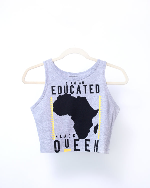 EDUCATED BLACK QUEEN® Grey Crop Tank