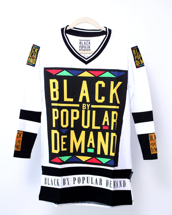 BLACK BY POPULAR DEMAND® Unisex White Long Sleeve Hockey Shirt