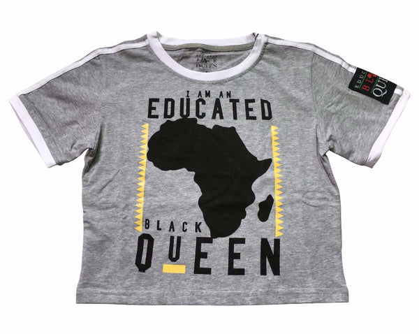 EDUCATED BLACK QUEEN® Crop Grey Shirt