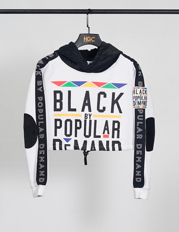 BLACK BY POPULAR DEMAND® White Crop Sweatsuit Top