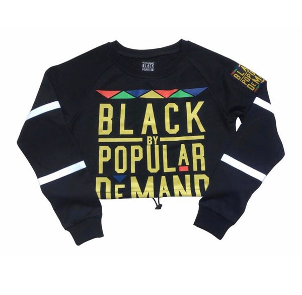 BLACK BY POPULAR DEMAND® Women's Black Crop Hockey Sweatshirt