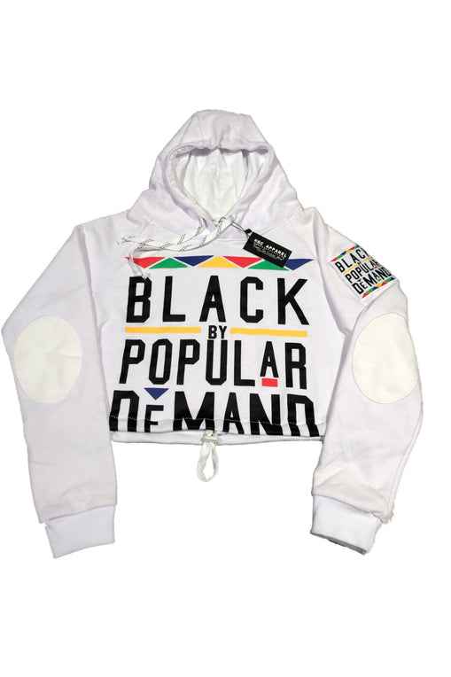BLACK BY POPULAR DEMAND® Crop White Hoodie
