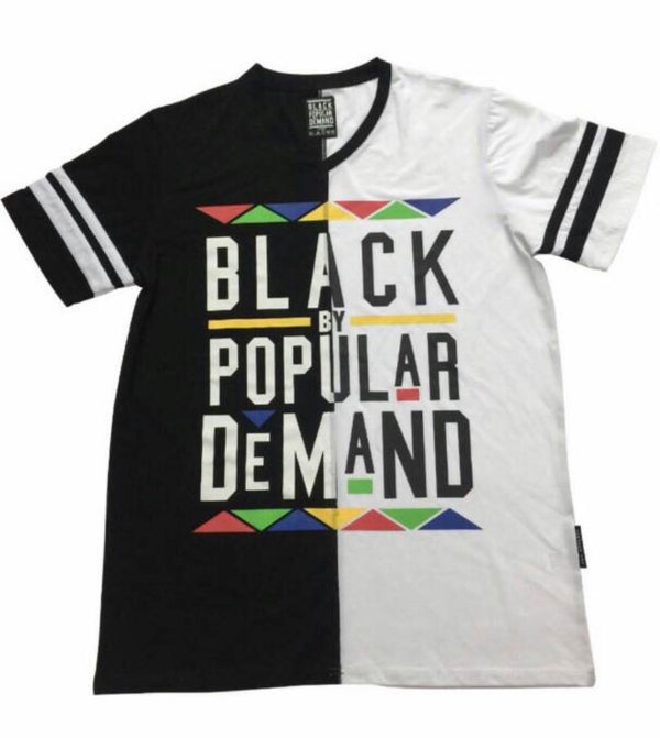 BLACK BY POPULAR DEMAND® UNISEX  BLACK AND WHITE SPLIT SHIRT