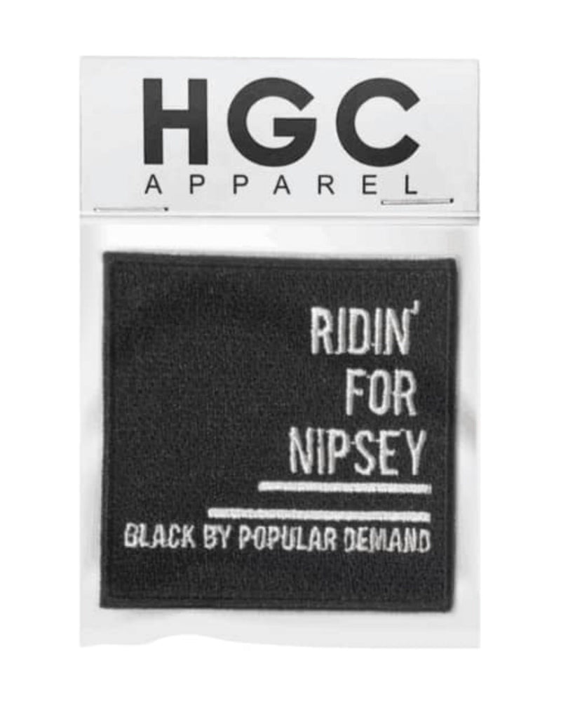 RIDIN FOR NIPSEY BLACK EMBROIDERY PATCH