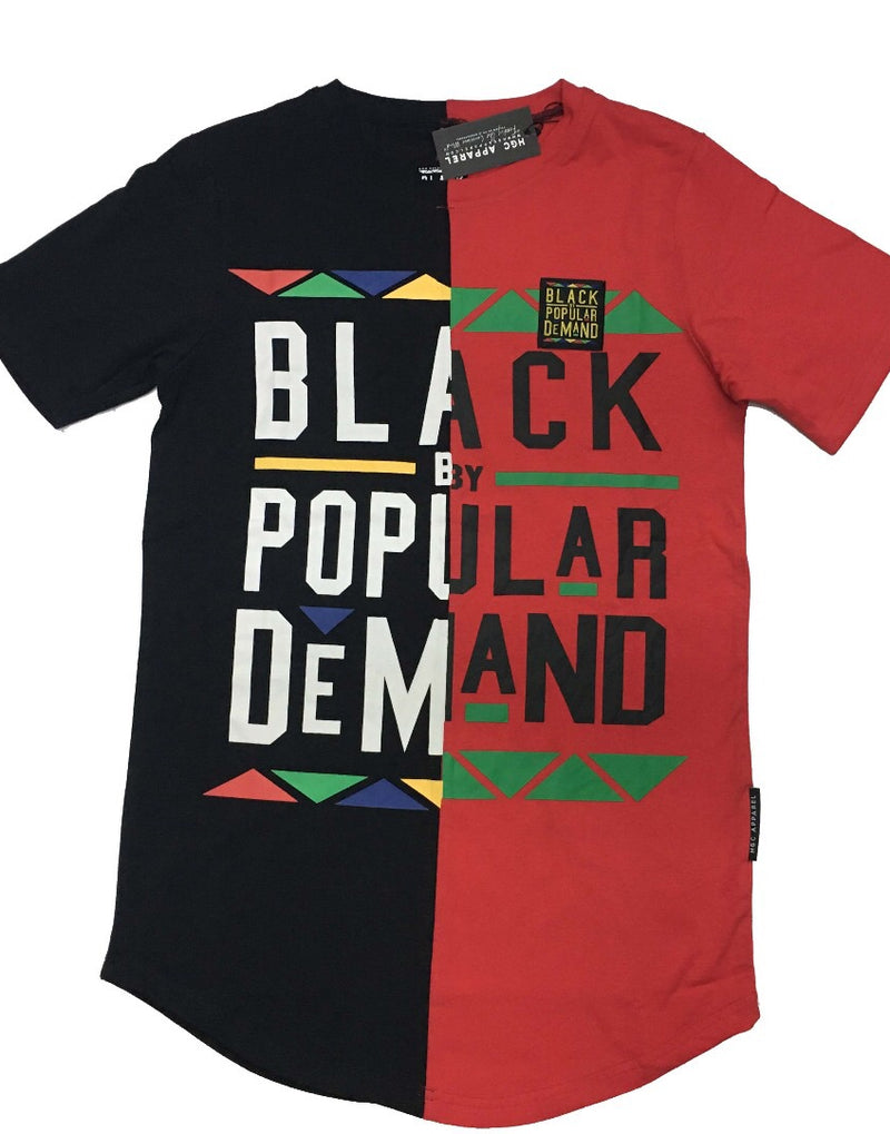 BLACK BY POPULAR DEMAND® UNISEX  BLACK AND RED SPLIT SHIRT