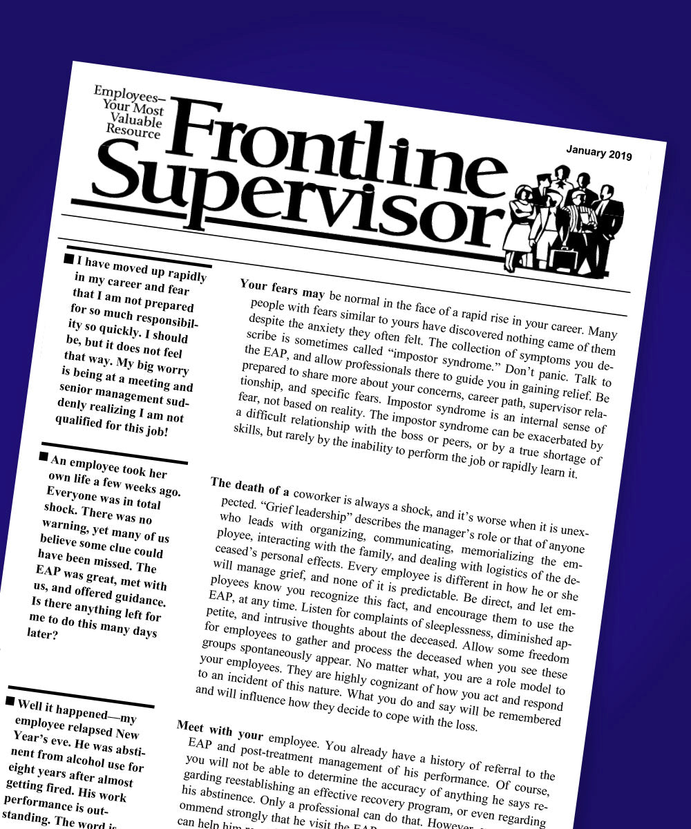 FrontLine Supervisor EAP Utilization Improvement Newsletter - Supervisor - workplacenewsletters - workplacenewsletters