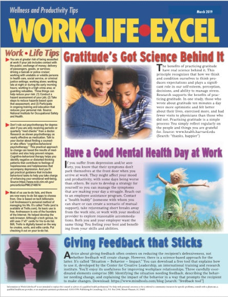 Work Life Excel Corporate Health & EAP Wellness Newsletter - Health - workplacenewsletters - workplacenewsletters