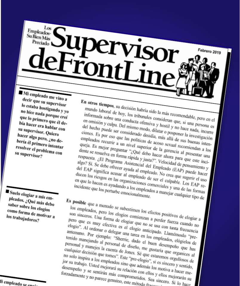 FrontLine Supervisor EAP Utilization Improvement Newsletter (Spanish) - Supervisor - workplacenewsletters - workplacenewsletters