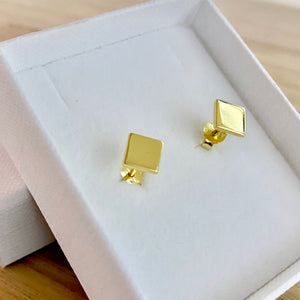 Laihas Simple Studs - Polished Gold Rhombus - Laihas Bohemian Dreaming