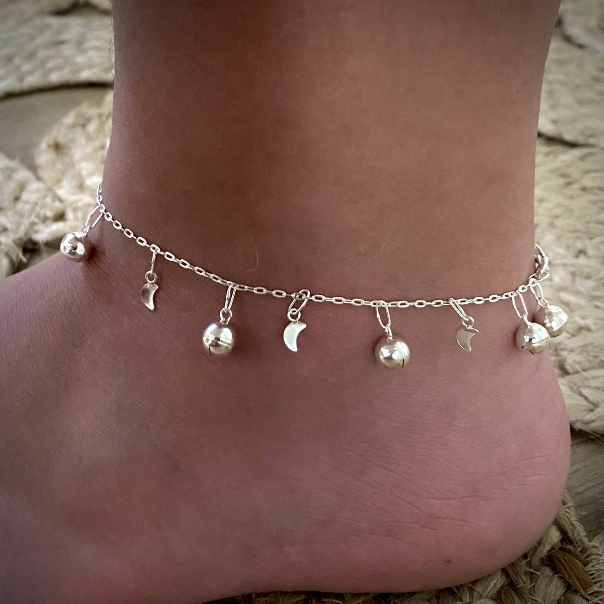 Laihas Bells and Moons Sterling Silver Anklet - Laihas Bohemian Dreaming