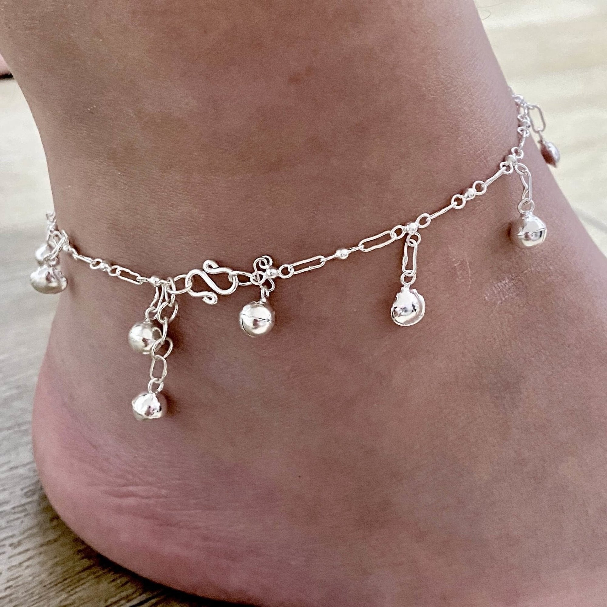 Laihas Bohemian Bells and Shells Sterling Silver Anklet - Laihas Bohemian Dreaming