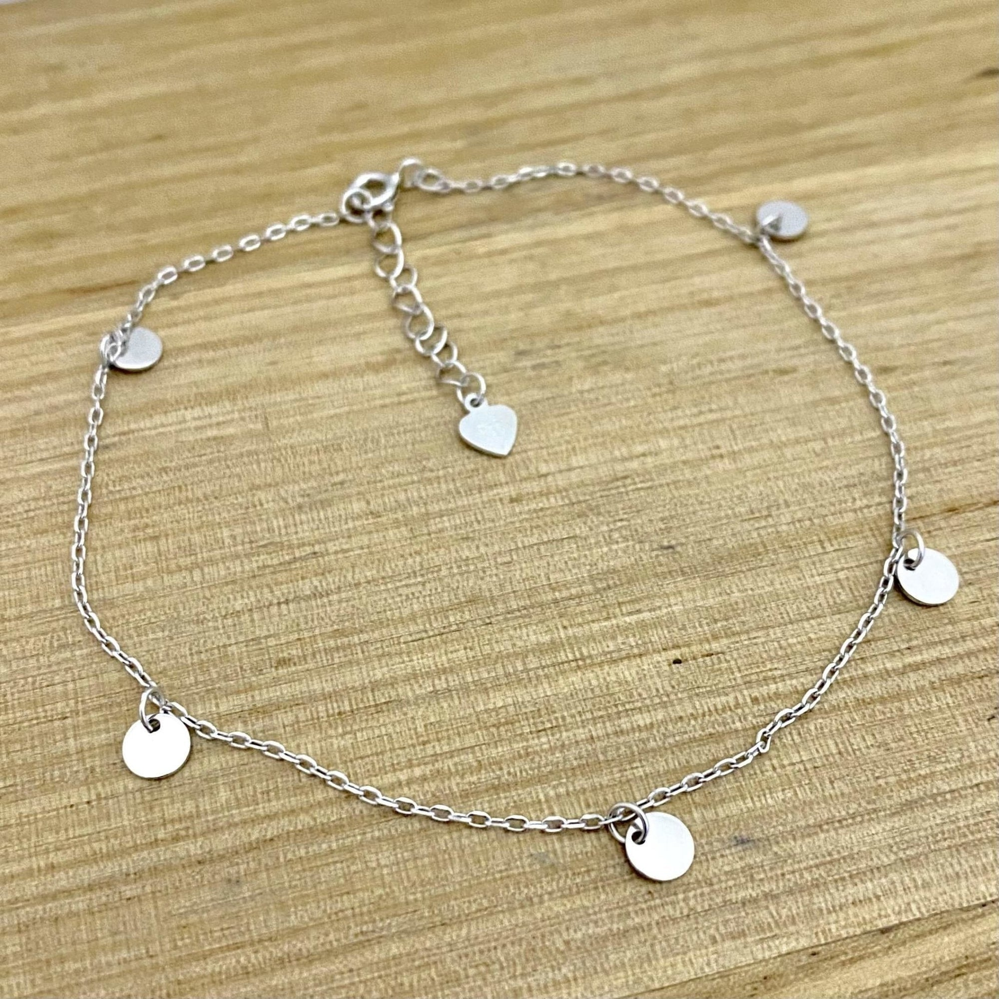 Laihas Bohemian Disk Rhodium Plated Sterling Silver Anklet - Laihas Bohemian Dreaming