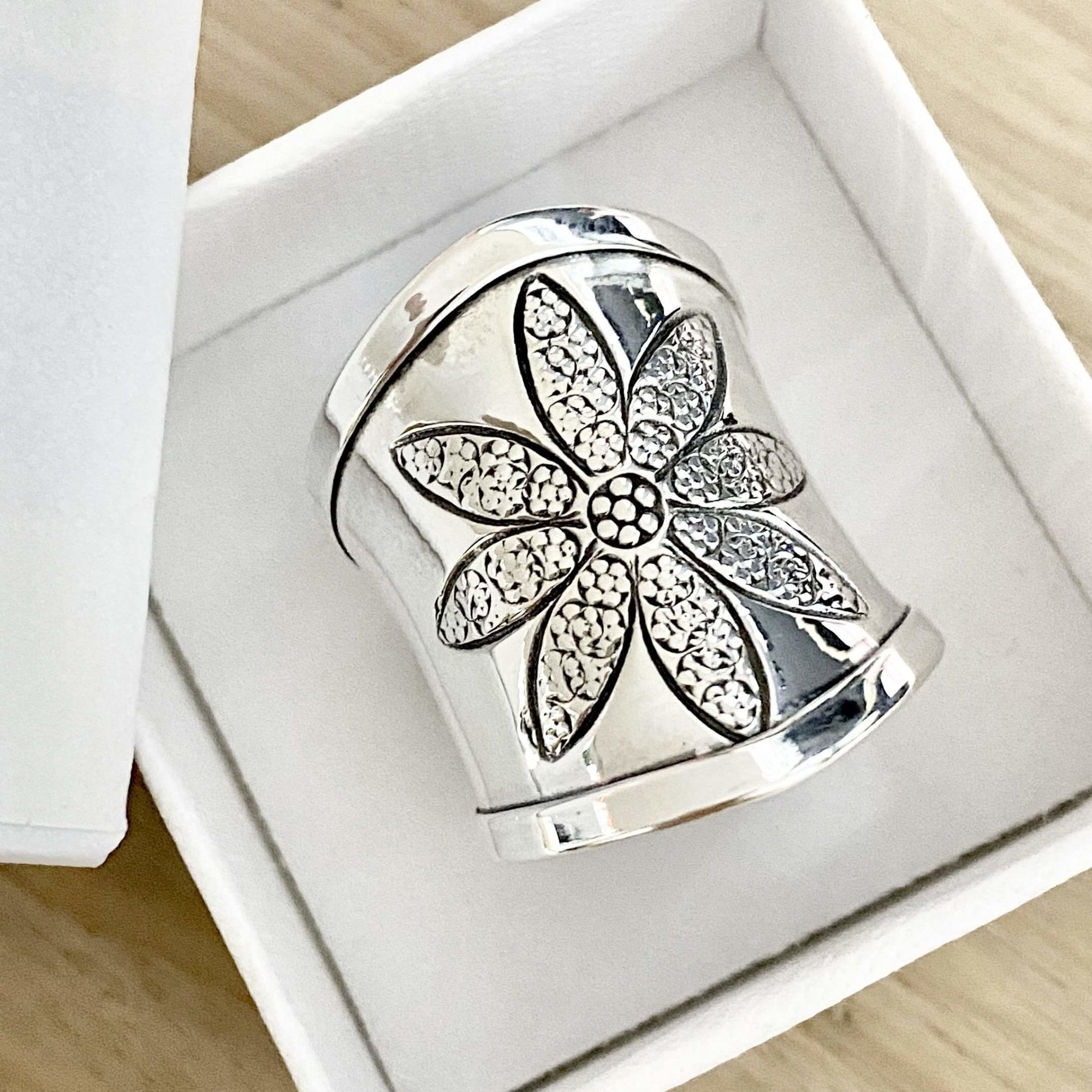 Laihas Bohemian Flower Sterling Silver Cuff Statement Ring Ass Sizes - Laihas Bohemian Dreaming